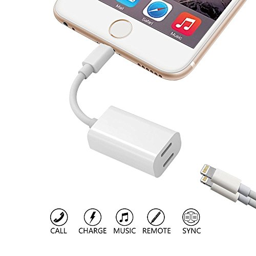 iPhone 7 / 7 Plus 2 in 1 Lightning Adapter & Splitter, Dual Lightning Headphone Audio & Charge Adapter for iPhone X / 8 / 7, Support Audio, Charge, Sync Data, Music Control (Compatible iOS 11 or Earli