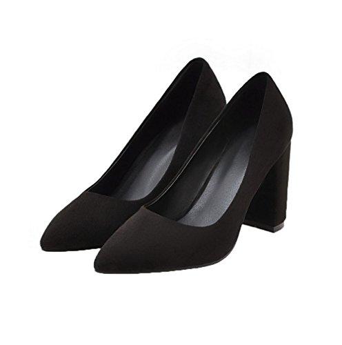 Pull Solide scarpe Frosted toe Nere Alti Weenfashion Donne Pompe Delle Tacchi Delle Chiuso on 6gIn0