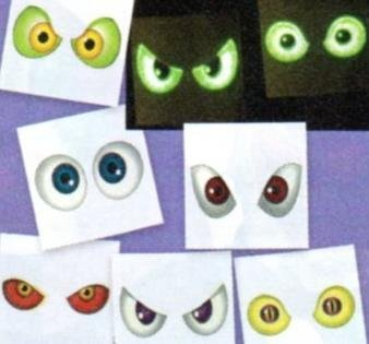36 (3 Dozen) ~ Glow-in-the-dark Eyeball Tattoos ~ Temporary ~ Approx. 1.5 ~ New ~ Halloween by FX ()
