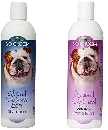 Bio-groom Natural Oatmeal Shampoo 12 Ounces and Natural Oatmeal Soothing Anti-Itch Pet Creme Rinse 12 Ounces - Combo Pack for Dogs and Cats -2 Items ()