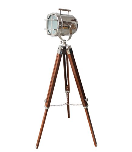 Vintage Maritime LED Searchlight With Nautical Brown Tripod