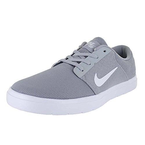 Nike Mens Sb Portmore Ultralight Cn Skate Schoen Wolf Grijs / Wit / Koel Grijs