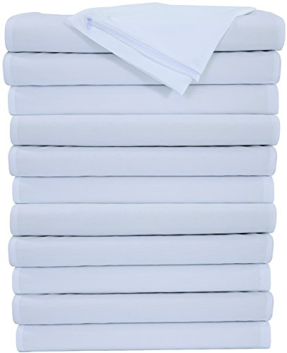 Niagara Sleep Solution 12 Pack Pillow Protectors Zippered White Standard Pillow Cases Covers Microfiber Set of Dozen Reduces Allergies & Respiratory Irritation Hotel Quality by NSS