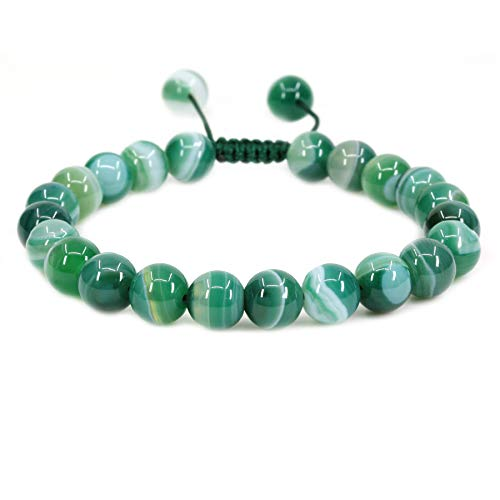Natural Green Banded Agate Gemstone 8mm Round Beads Adjustable Braided Macrame Tassels Chakra Reiki Bracelets 7-9 inch Unisex
