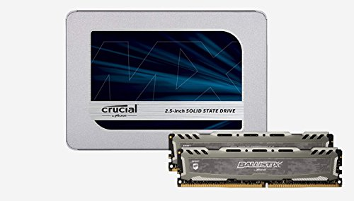 6GB Kit (8GBx2) DDR4 2400 MT/s (PC4-19200) SR x8 DIMM 288-Pin - BLS2K8G4D240FSBK (Gray) + Crucial MX500 250GB 3D NAND SATA 2.5 Inch Internal SSD - CT250MX500SSD1(Z) ()