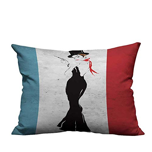 (YouXianHome Home Decor Pillowcase The Girl in a Black Even Dress Smokes a Cigarette Durable Polyester Fabric(Double-Sided Printing) 11x19.5 inch)