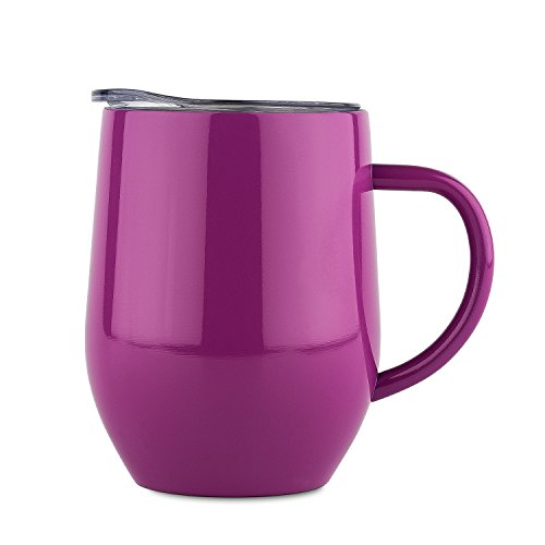 DOKIO 12 oz Coffee Mug Cup With Handle Purple Stainless Steel Double Wall Vacuum Insulated With Crystal Clear Lid Great For Ice And Hot Drink Wine Glass For Home Office (Purple Handle)