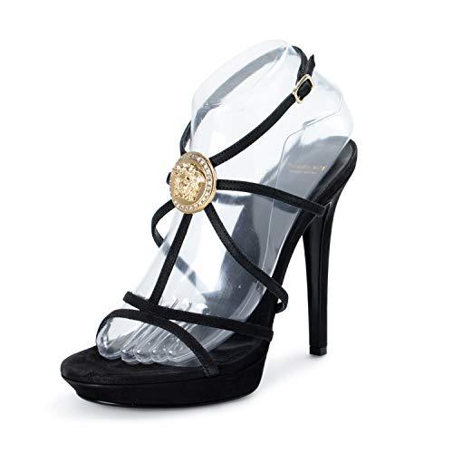 Versace Women's Black Suede Leather High Heel Sandals Pumps Shoes US 10 IT 40