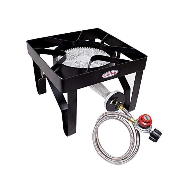 GasOne 200, 000 BTU Square Heavy- Duty Single Burner Outdoor Stove Propane Gas Cooker with Adjustable 0-20Psi Regulator… 1