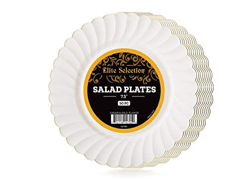 Elite Selection Pack Of 50 Disposable Party Plastic Plates Cream Ivory Color With Gold Flower Rim (7.5)