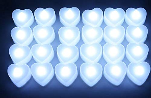 - BT 24 Pack LED Tea Lights Candles-Flickering Flameless Tealight Candle-Battery Operated Electronic Fake Candles-Decoration for Wedding,Party,Dating and Festival Celebration (Heart-Shaped, White)