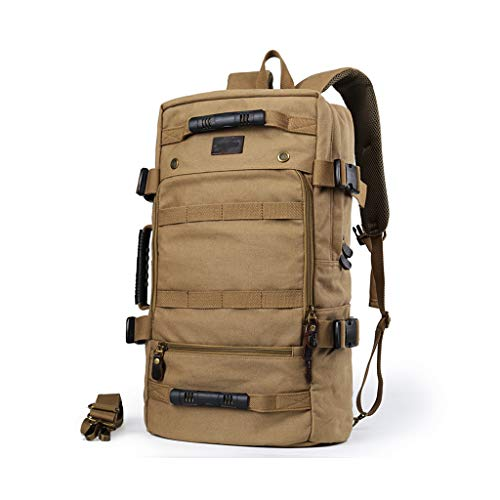 KIMSAI Multifunctional Portable Canvas Bag Men's Backpack Travel Backpack Sports Outdoor Travel Bag Large Capacity Light Outdoor Function Leisure Mountaineering Bag,313255CM