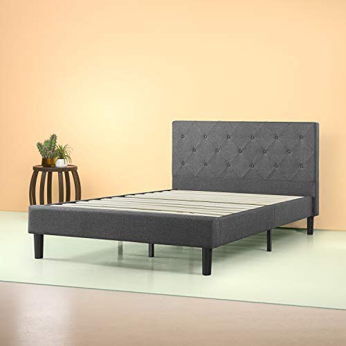 (Zinus Shalini Upholstered Diamond Stitched Platform Bed / Mattress Foundation / Easy Assembly / Strong Wood Slat Support / Dark Grey, Queen)