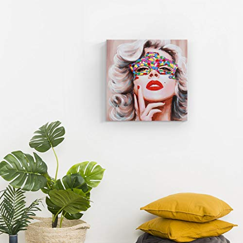 amatop Modern Wall Art Hand-Painted Fashion Women Oil Painting Framed Sexy Marilyn Monroe Portrait with Red Lip Canvas Artwork Stylish Feminine Famous People Pop Art for Living Room Bedroom Décor