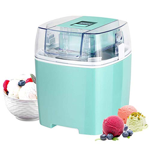 Costway Ice Cream Maker 1.6 Quart Automatic Macarons Color Ice Cream Machine, custard Frozen Yogurt Sorbet Gelato Machine with Auto Shut Off Timer, LCD Display and Mixing Paddle for Soft Serve Dessert (Green) (Frozen Custard Machine)