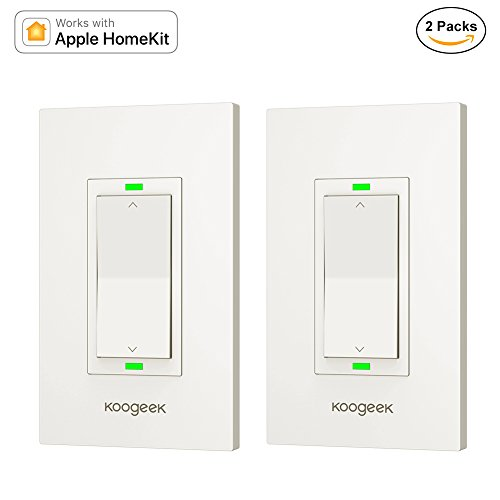 Koogeek Smart WiFi Light Switch Dimmer Works with Apple Homekit, Only for Single Pole, Support Siri on 2.4GHz Network 2 Packs (Require Neutral Wire)