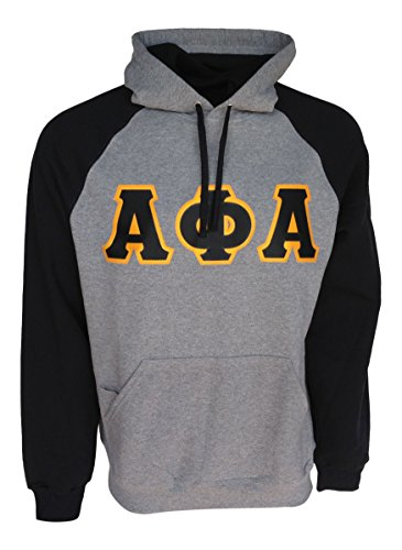 (Mega Greek Mens Alpha Phi Alpha Color Block Hooded Sweatshirt (Black, X-Large))