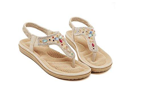 Sandals Flat Rhinestones Shoes Beach Sandals Strap Womens Summer Comfortable Beige T wt6xqxFBA