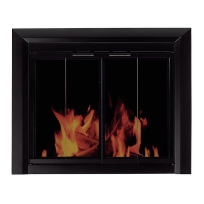 Clairmont Fireplace Screen and Bi-Fold Track-Free Smoked Glass Door Size: Large - Fireplace Frame