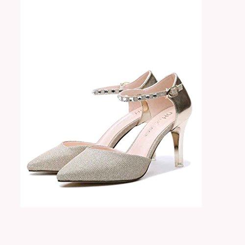 Helen Scarpe con tacco alto scarpe con scarpe a punta scarpe casual (oro) ( dimensioni : 36 yards )