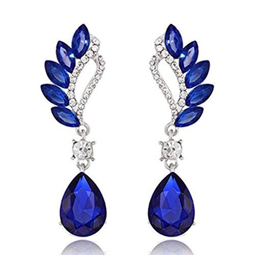 Women Angel Wings Rhinestone Ear Stud Dangle Earrings Jewelry - 3