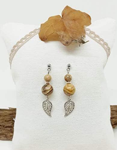 Pendientes de Piedras Naturales, pendientes de mujer, pendientes de Jaspe Paisina, pendientes de hoja, pendientes de acero, regalo único