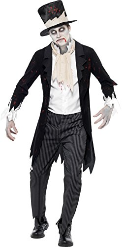 Smiffy's Men's Till Death Do Us Part Zombie Groom Costume, Jacket with Waistcoat, Scarf, pants and Top Hat, Zombie Alley, Halloween, Size L, 24352