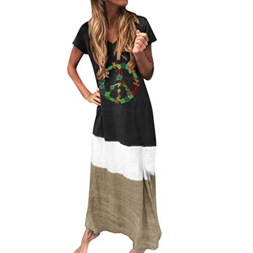 Women Maxi Dress,Cenglings Ladies Casual V Neck Short Sleeve Feather Printing Color Block Loose Plus Size Dress Beach Dress Black