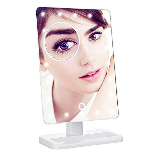Lighted Makeup Mirror, LuckyBird Premium Illuminated & Portable LED Vanity Mirror, 20 Dimmable LED,10x Magnifying Spot, 180° Rotation, Ergonomic Design, Perfect Lighting For Flawless Makeup-White
