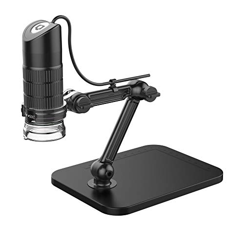 Candybush Microscopio 500X / 800X / 1000X Niños Adultos USB portátil Kit de microscopio Digital portátil, cámara de microscopio HD 1080P, 8 Luces LED Blancas cálidas, Soporte Ajustable cámara de microscopio HD 1080P