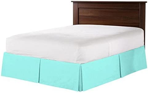 Aqua Blue } VGI Linen Best Looking Egyptian Cotton Pleated Tailored Bed Skirt with 8 Drop Length Super Soft { 400-TC } Available in Solid Variety of Colors to Match Your Bedroom Decor { King
