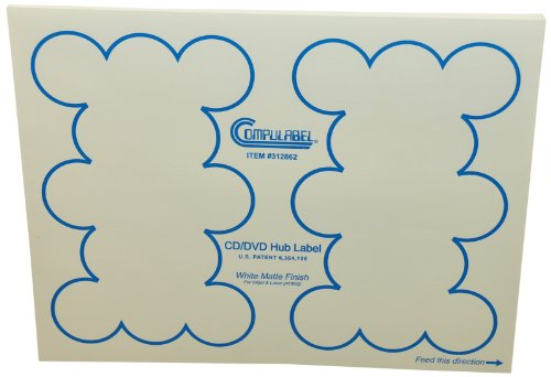 Compulabel 312862 White CD/DVD Hub Labels for Laser and Inkjet Printers, 1.33 inch, Permanent Adhesive, 26 Per Sheet, 100 Sheets per Carton