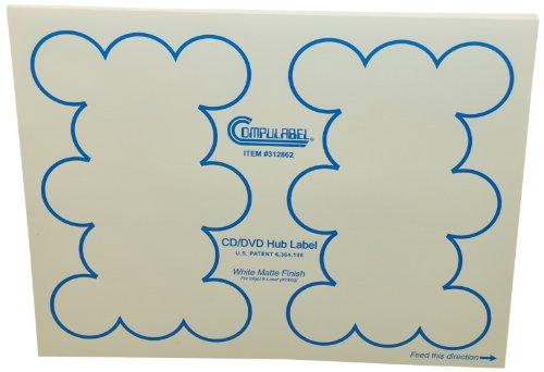 Continental Compulabel White CD/DVD Hub Labels for Laser ...