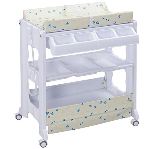 Costzon Baby Bath and Changing Table, Diaper Organizer for Infant with Tube & Cushion (Beige)