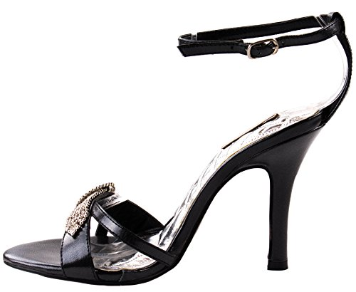 Celeste Shoes Womens Chris-02 Faux Leather High Heel Pumps with Clustered Rhinestone Buckle Black AtygCBgEg