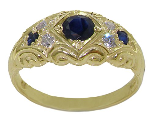 Diamond 14k Gold Estate Ring (14k Yellow Gold Natural Sapphire and Diamonds Womens Band Ring (0.16 cttw, H-I Color, I2-I3 Clarity))