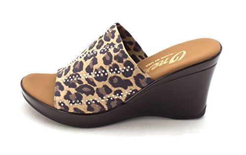 Brown Onex Elastic Women's Sandal Heeled Sophie Leopard IwrTqwfC