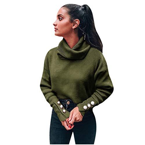 HDGTSA Women Pullover Long Sleeve Solid Turtleneck Blouse Top Casual Loose Sweatshirt - Barn Sweatshirt