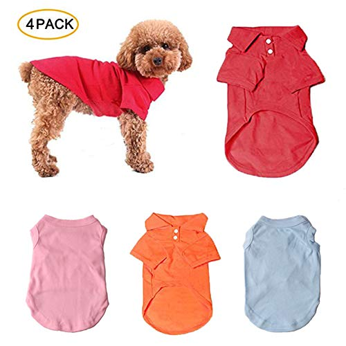 (TOLOG 4 Pack Dog T-Shirt Pet Summer Shirts Puppy Clothes for Small Medium Large Dog Cat,Soft and Breathable Cotton Outfit Apparel Color)