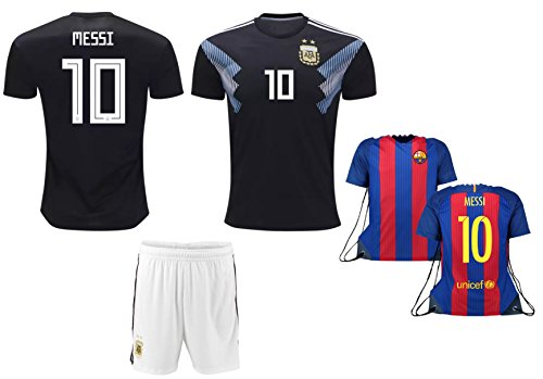 Lionel Messi Argentina #10 Kids Soccer Jersey and Shorts World Cup Kit All Youth Sizes (5-7)