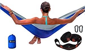 single and double camping hammock with hammock straps  2 x 8 ft  u0026 11 loops each  and carabiners with parachtue nylon fabric best outdoor hammock kit for     amazon    double camping hammock with tree straps and carabiners      rh   amazon
