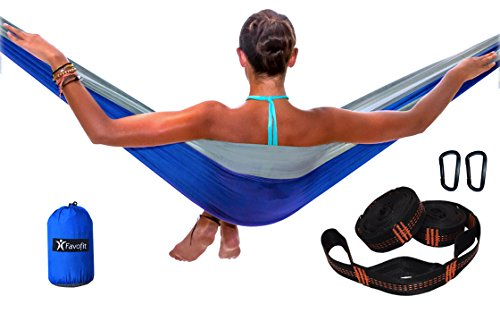 Single-and-Double-Camping-Hammock-with-Hammock-Straps-2-x-8-ft-11-loops-each-and-Carabiners-with-Parachtue-Nylon-Fabric-Best-Outdoor-Hammock-Kit-for-Backpacking-Hiking-and-Beach