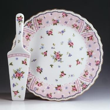 Cake Plate and Server - Petit Rose - Andrea Sadek - 10.25u0026quot; Diameter Porcelain China & Cake Plate and Server - Petit Rose - Andrea Sadek - 10.25