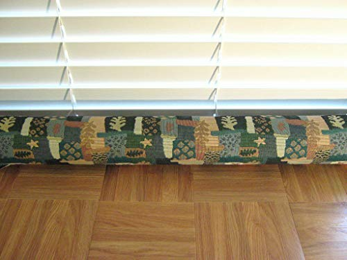 "Door Draft Stopper Fabric Only Heavy Weight Upholstery Fabric Green Blue Tan & Beige Custom Made 24""- 42"" X 3.5"" Short Extra Long You Pick Length Same Price"