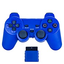 Bowink Wireless Gaming Controller for Ps2 Double Shock - Solid Blue
