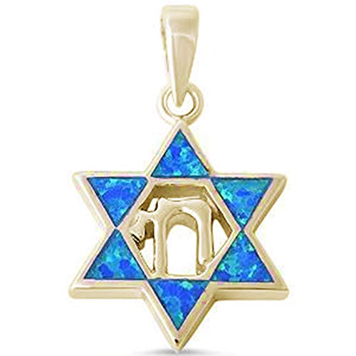 Oxford Diamond Co Lab Created Blue Opal Star of David with Chai Symbol .925 Sterling Silver Pendant (Yellow Gold Plated Lab Created Opal)
