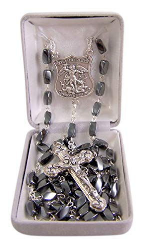 Silver Toned Saint Michael Patron Saint of Police Officers Hematite Prayer Bead Rosary, 16 1/4 ()