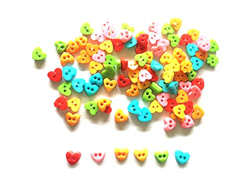 Micro Mini Hearts - 200 Pcs Cute tiny hearts Buttons 2 holes Size 4mm mix color red, orange, yellow, light blue, green