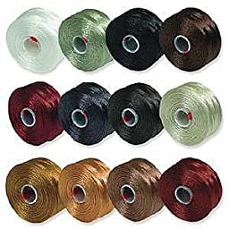 S-Lon Beading Thread Mixture 12 Colors Size D - Neutrals Mix