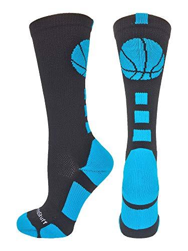 MadSportsStuff Basketball Logo Athletic Crew Socks, Medium - Black/Electric Blue